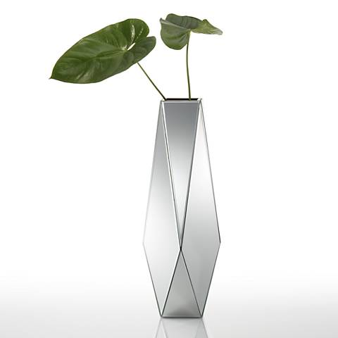 "Stellar 25"" High Geometric Mirrored Vase"