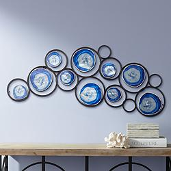 "Blue Agate 42"" Wide Metal Wall Art"