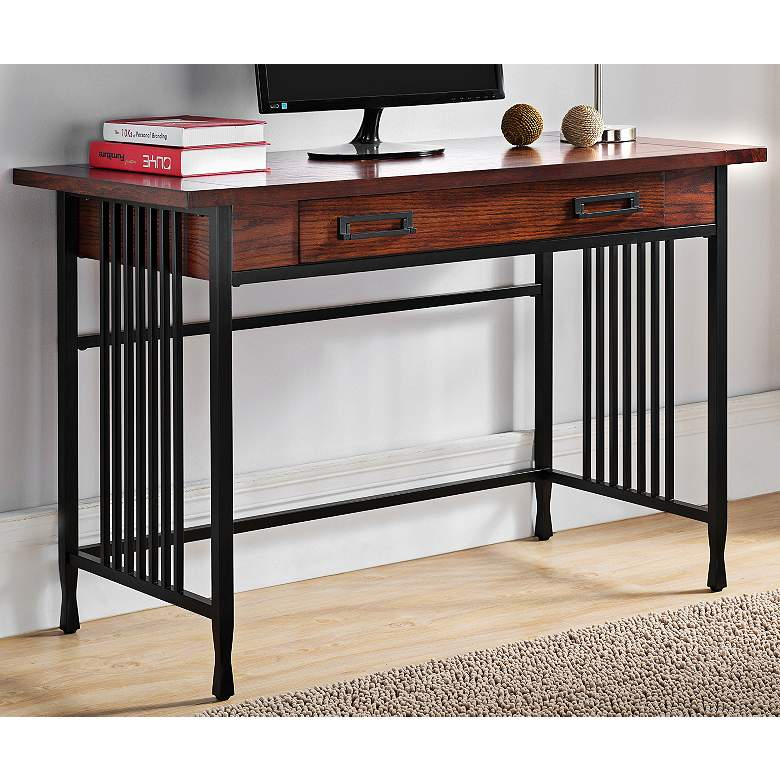 "Ironcraft 46"" Wide Mission Oak Computer Writing Desk"