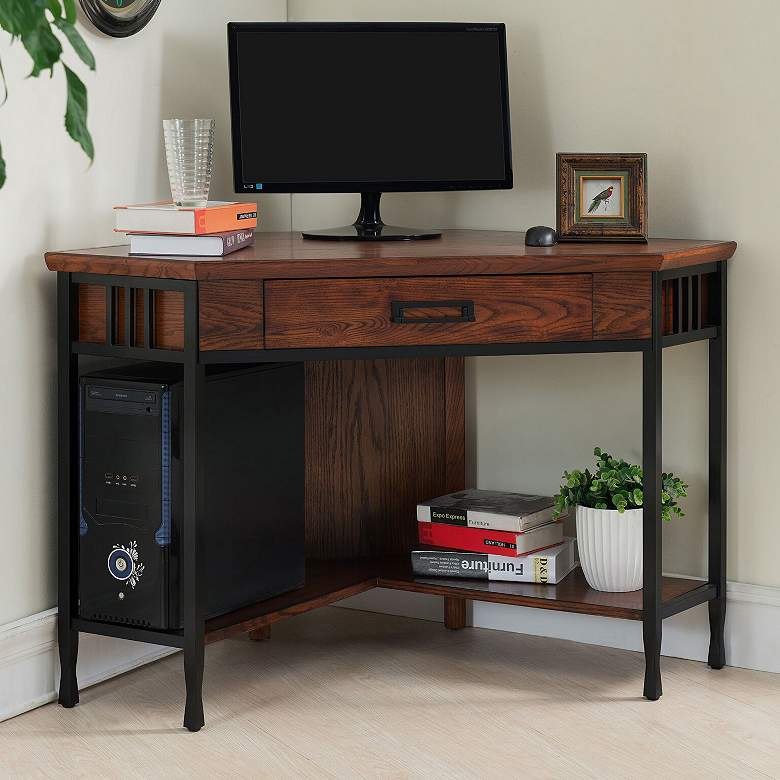 "Ironcraft 48"" Wide Mission Oak Corner Computer Writing"