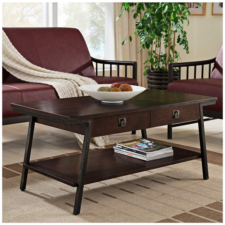 "Empiria 44"" Wide Hand-Finished Walnut 2-Drawer Coffee Table"