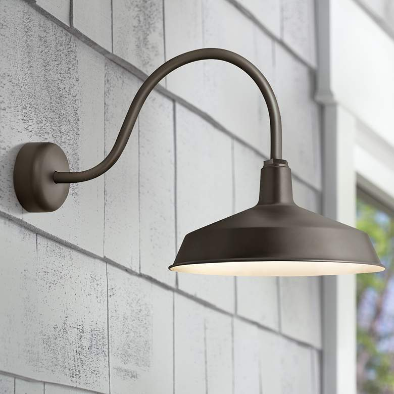 "RLM Standard 19""H Textured Bronze Outdoor Wall Light"