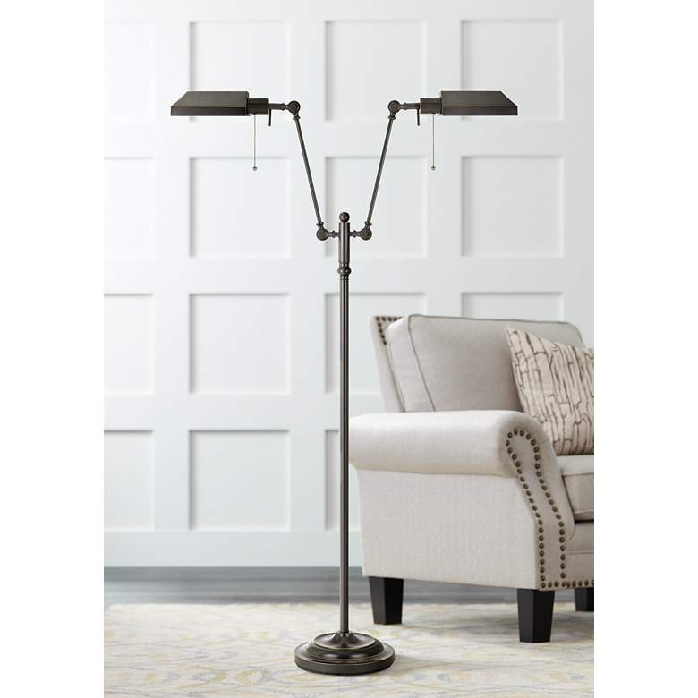 Honus Dark Bronze Dual Flat Head Pharmacy Floor Lamp 10t50 Lamps Plus