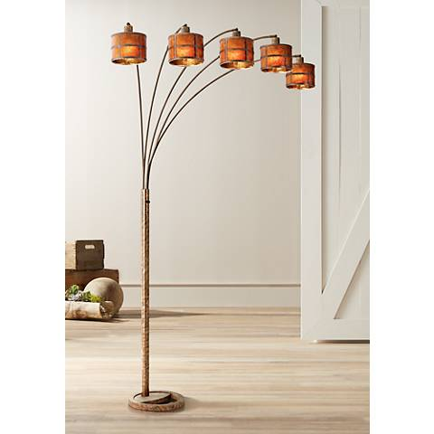Fidrych Mica Shade 5-Arm Heavy-Duty Arc Floor Lamp