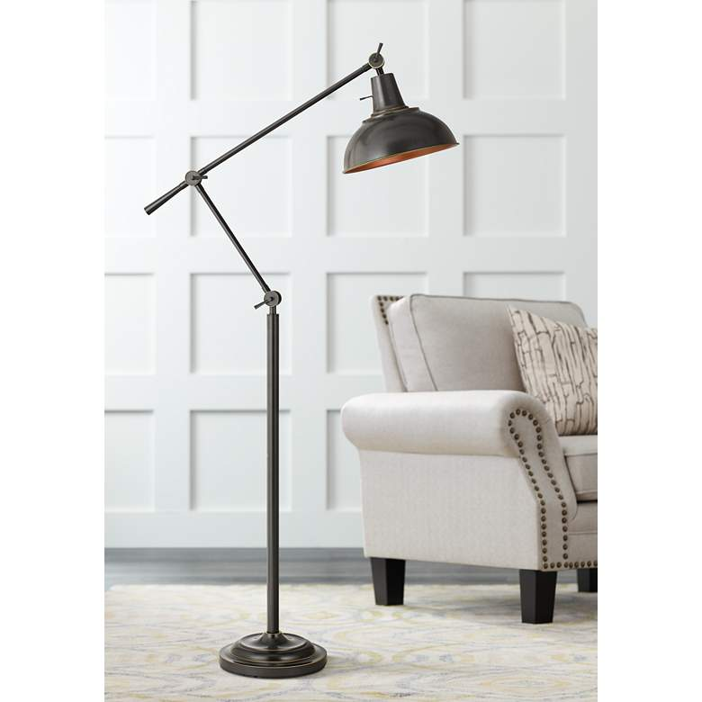 Eupen Dark Bronze Adjustable Linear Floor Lamp