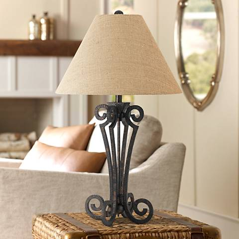 Blacksmith Black Wrought Iron Scroll Table Lamp