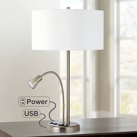 Sivana Brushed Steel LED Reading Light Utility Desk Lamp