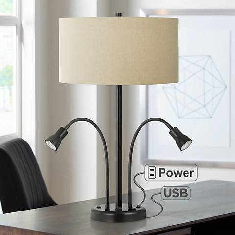 Sivana Bronze Desk Lamp With Led Reading Lights And Usb