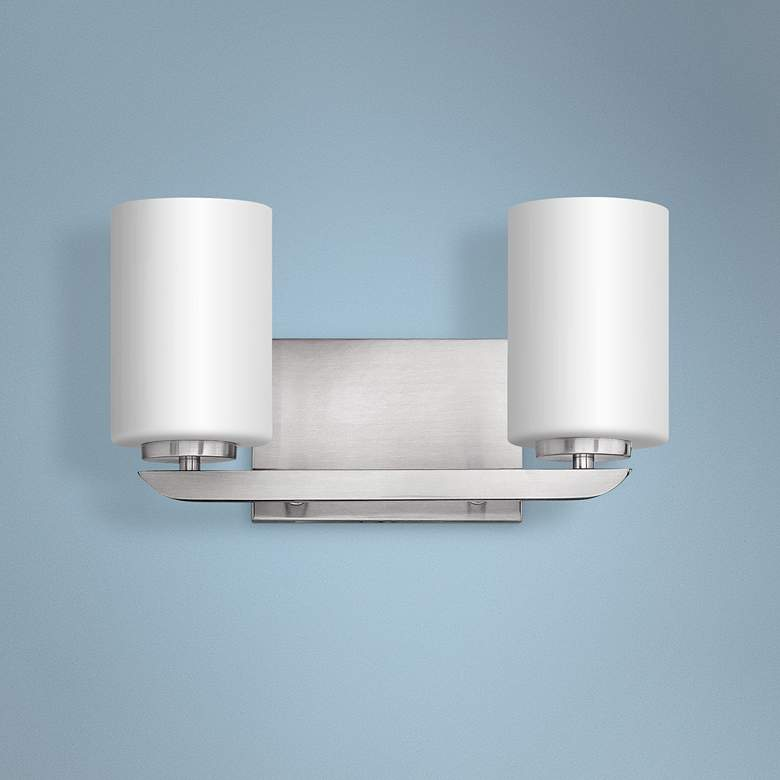 "Hinkley Kyra 7 3/4"" High Brushed Nickel 2-Light"