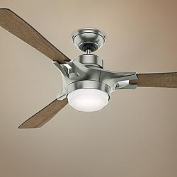 "54"" Hunter Signal Satin Nickel LED Ceiling Fan"