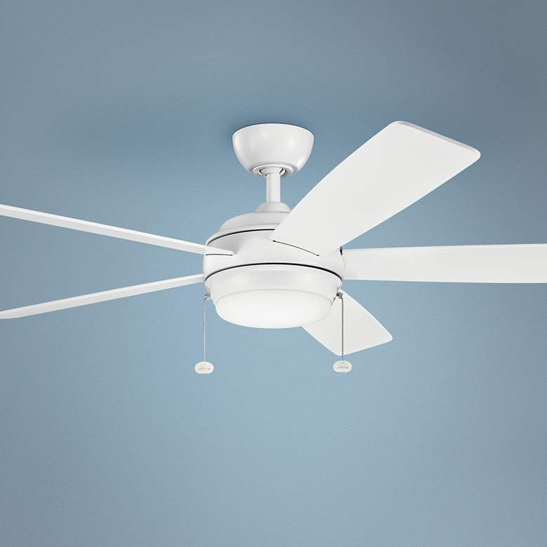 "60"" Kichler Starkk Matte White LED Ceiling Fan"