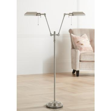 Honus Brushed Steel Dual Flat-Head Pharmacy Floor Lamp