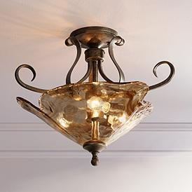 Amber Scroll 20 1 4 Wide Art Gl Ceiling Light