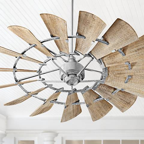 "60"" Quorum Windmill Galvanized Damp-Rated Ceiling Fan"