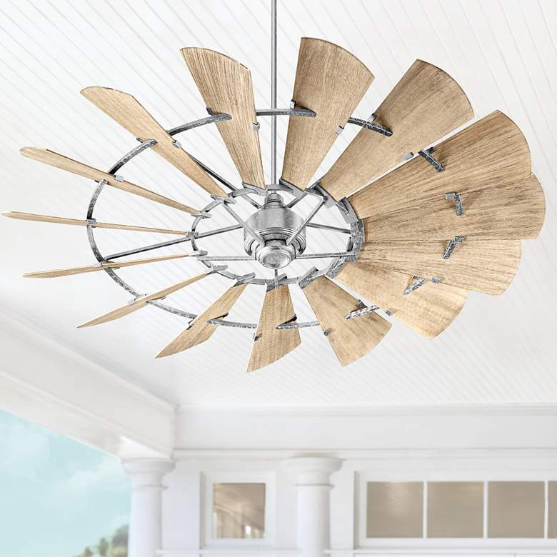 "72"" Quorum Windmill Galvanized Damp-Rated Ceiling Fan"