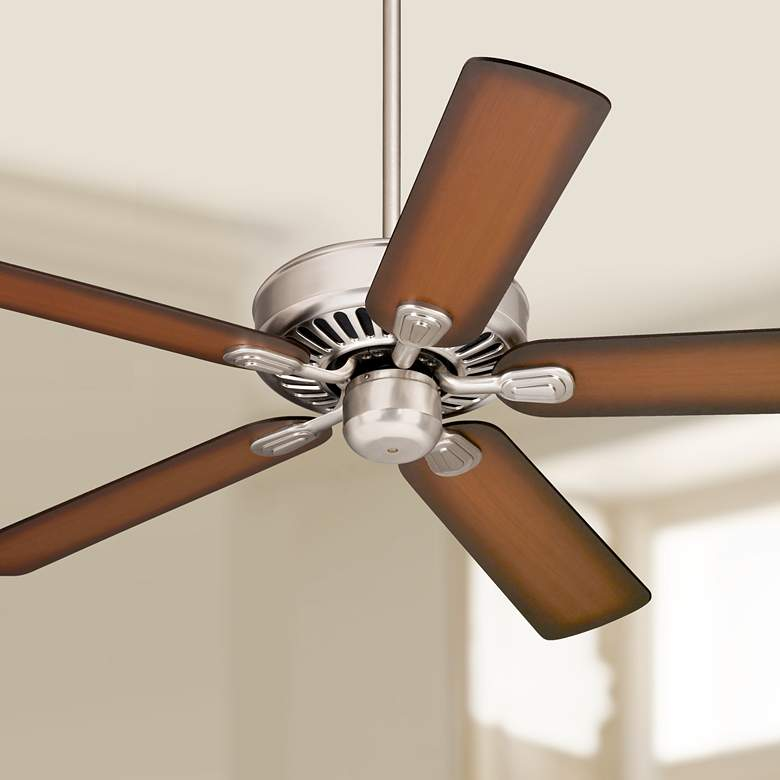 "52"" Windstar II™ Brushed Nickel Shaded Teak Ceiling Fan"