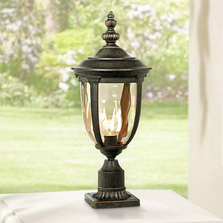"Bellagio 24 1/2""H Bronze Post Light with Pier"