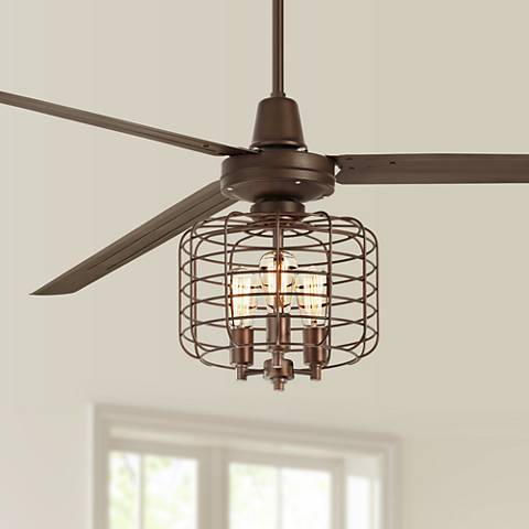 "84"" Turbina XL Industrial Cage Oil-Rubbed Bronze Ceiling Fan"