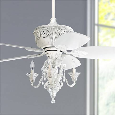 52 Casa Deville Antique White Ceiling Fan With Light 11h26 Lamps Plus