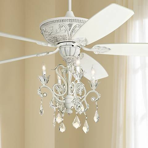 "60"" Casa Montego™ Rubbed White Chandelier Ceiling Fan"