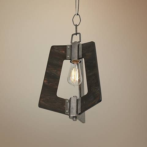 "Varaluz Lofty 11 1/2""W Faux Zebrawood and Steel Mini Pendant"