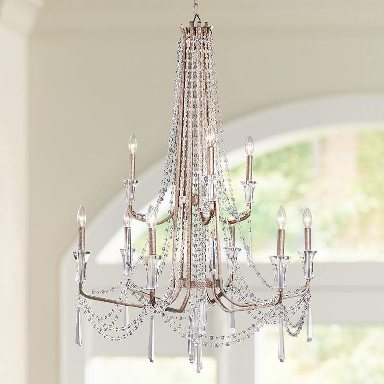 "Barcelona 34 1/2"" Wide Transcend Silver Crystal Chandelier"