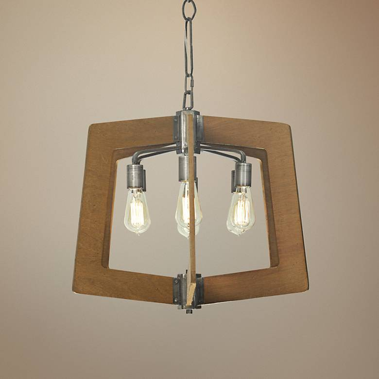 "Varaluz Lofty 24"" Wide Wheat and Steel 6-Light Chandelier"