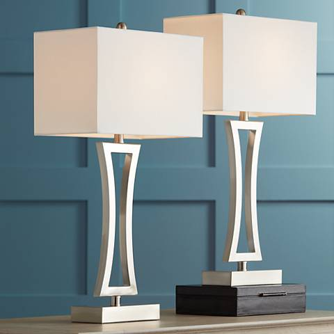 Roxie Brushed Nickel Metal Table Lamps Set Of 2 11p72 Lamps Plus