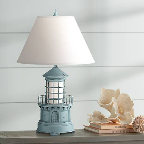 Nolensville Lighthouse Sky Blue Night Light Table Lamp