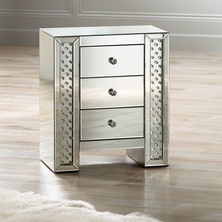 "Fostoria 22 1/4"" Wide Mirrored 3-Drawer Accent Table"
