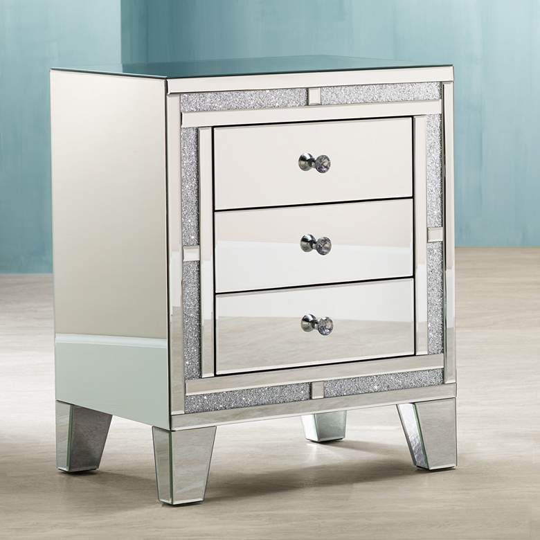 "Aretha 22"" Wide Crystal Beads 3-Drawer Mirrored Side Table"