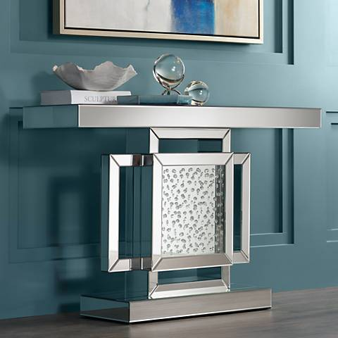 Fostoria Silver Mirror 47 1 4 Quot Wide Crystal Console Table