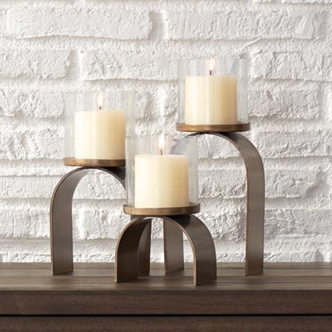 Arch Antique Brass Clear 3-Piece Pillar Candle Holders Set