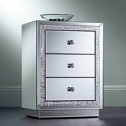 Biscaya Mirrored 3-Drawer Beaded Side Table