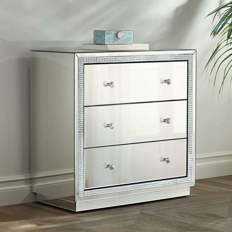 "Biscaya 31 1/2"" Wide Mirrored 3-Drawer Beaded Accent"