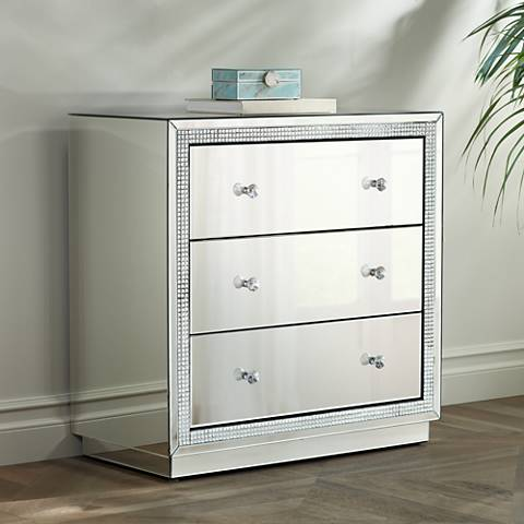 Biscaya Mirrored 3-Drawer Beaded Accent Chest