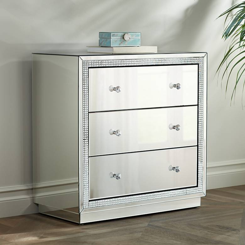 "Biscaya 31 1/2"" Wide Mirrored 3-Drawer Beaded Accent Chest"