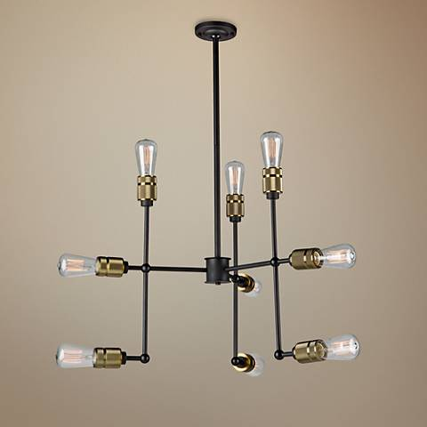 "Artcraft Jersey 25 1/4"" Wide Vintage Brass 9-Light Pendant"