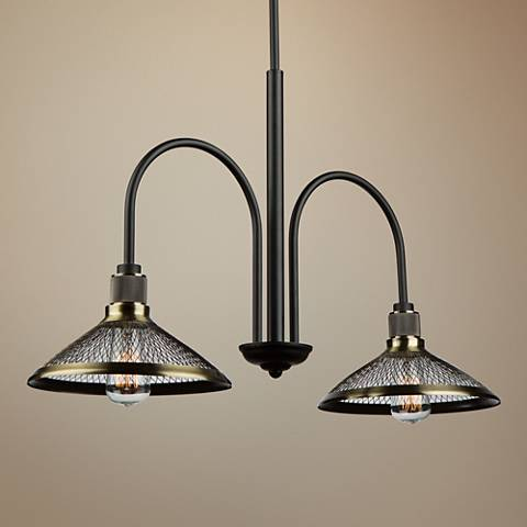 "Artcraft Wellington 30"" Wide Matte Black 2-Light Pendant"