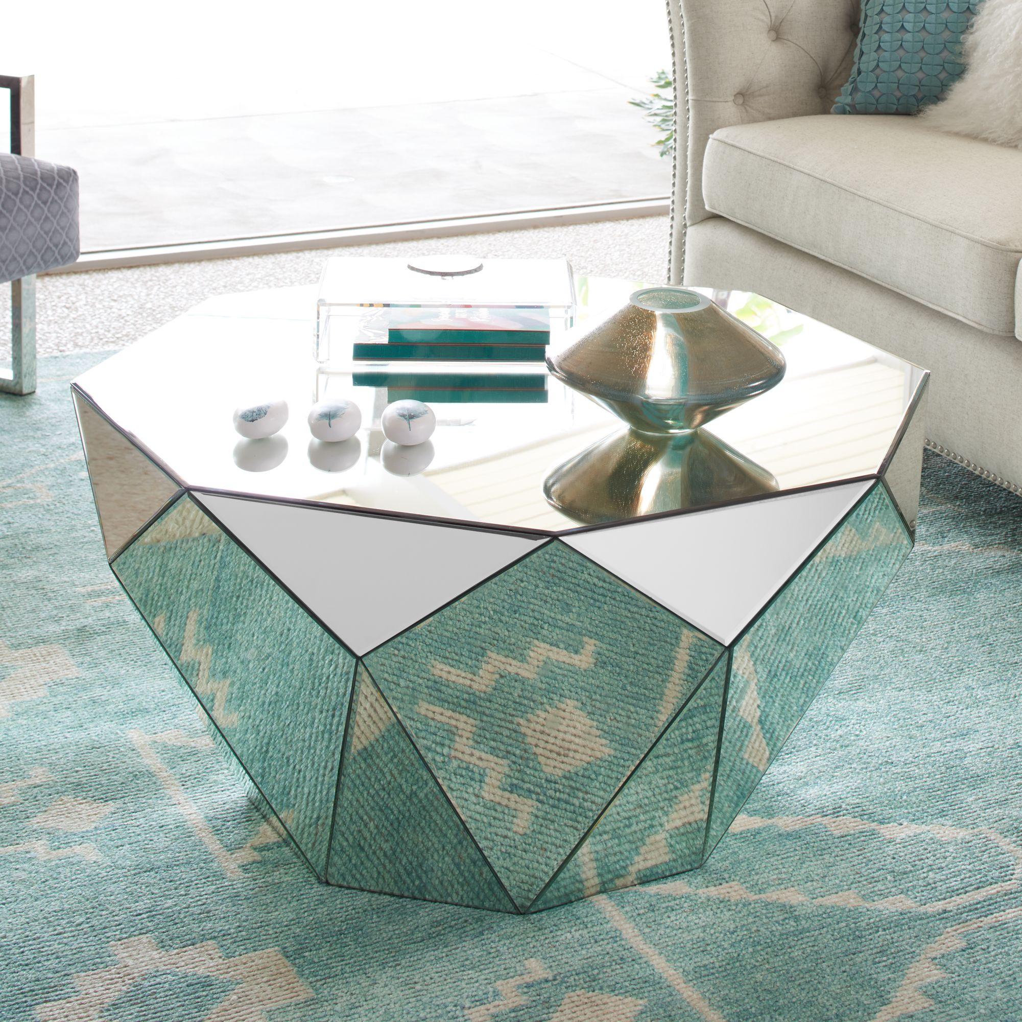 Aviano Mirrored Octagon Coffee Table