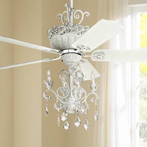 52 Quot Casa Chic Rubbed White Chandelier Ceiling Fan 12277