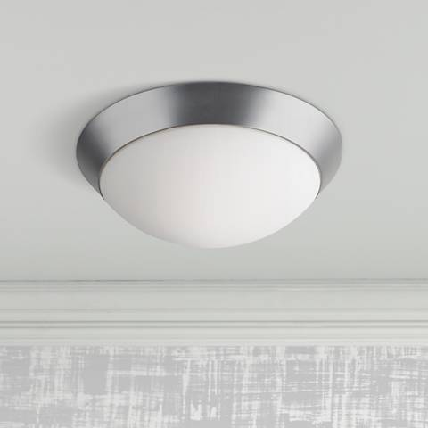 "Davis Brushed Steel 15"" Wide Flushmount Ceiling Light"