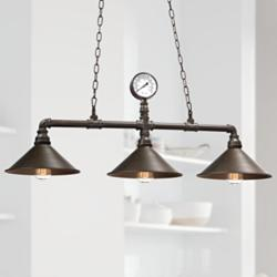 "Revival 40""W Rust Metal Rustic Kitchen Island Light Pendant"