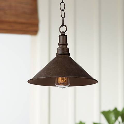 "Artcraft Revival 11"" Wide Rust Metal Rustic Mini Pendant"