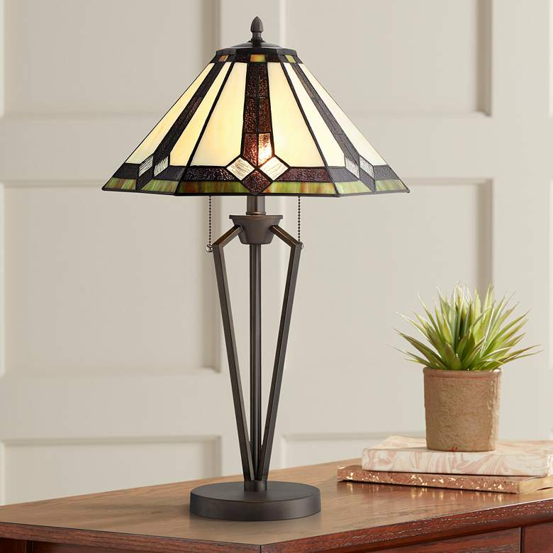 Lite Source Lance Dark Bronze Tiffany-Style Table Lamp