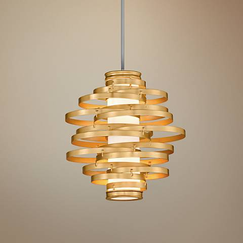 "Corbett Vertigo 18"" Wide Gold Leaf LED Pendant Light"