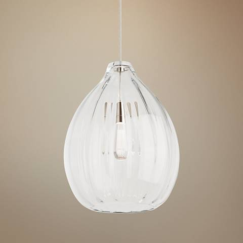 "Harper 16 3/4"" Wide Clear Glass Satin Nickel Pendant Light"