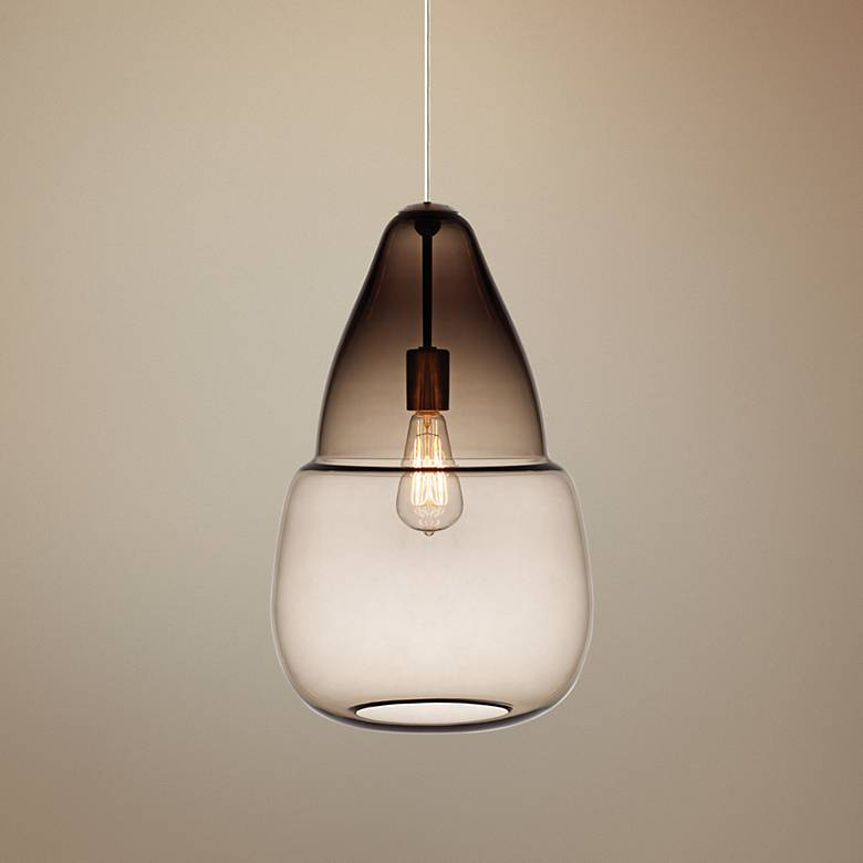 "Caspian Grande 12"" Wide Smoke Satin Nickel Mini Pendant"