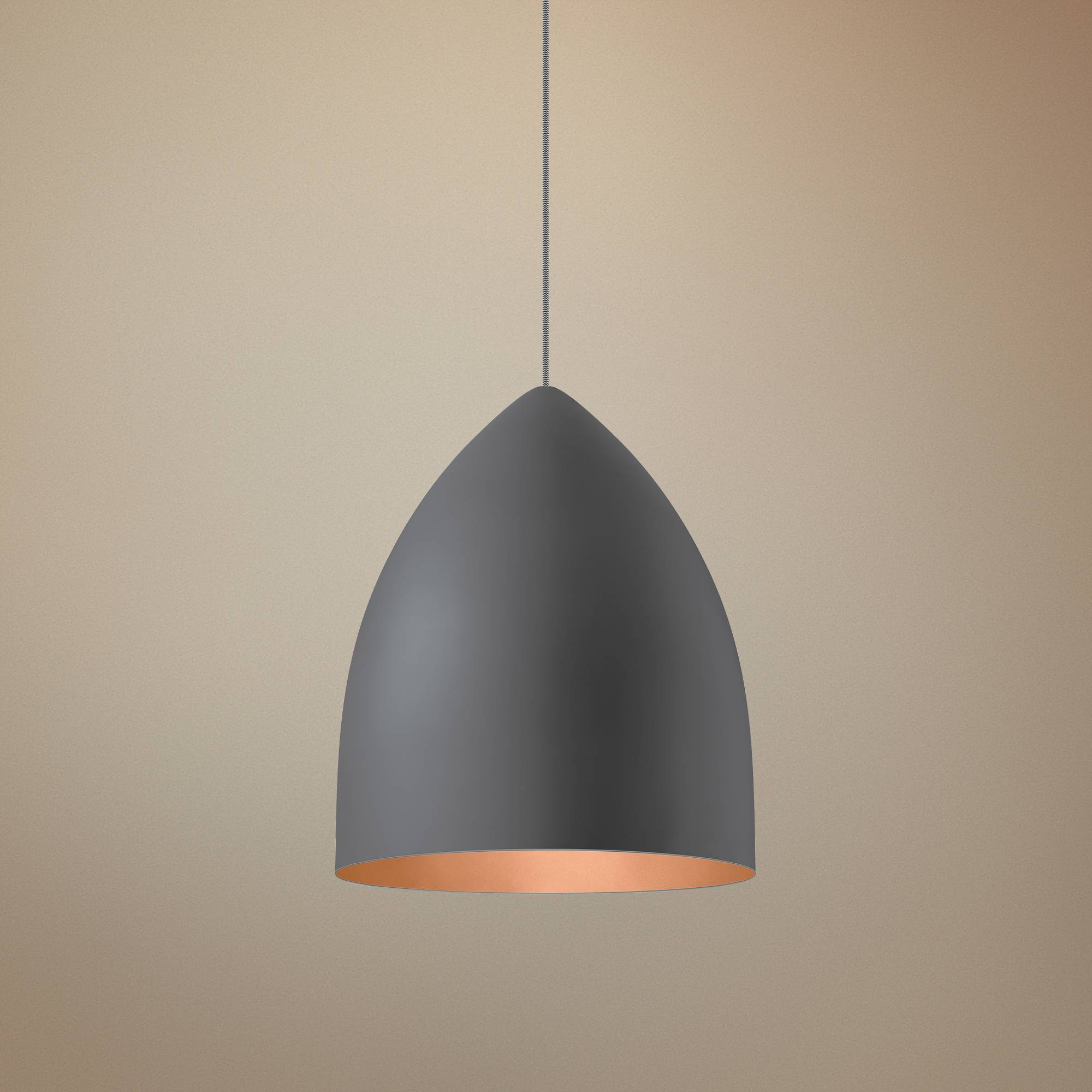 Lbl signal grande 17w gray and copper led pendant light