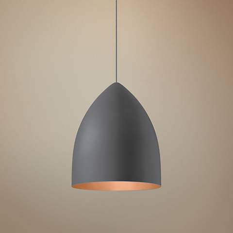 "LBL Signal Grande 17""W Gray and Copper LED Pendant Light"